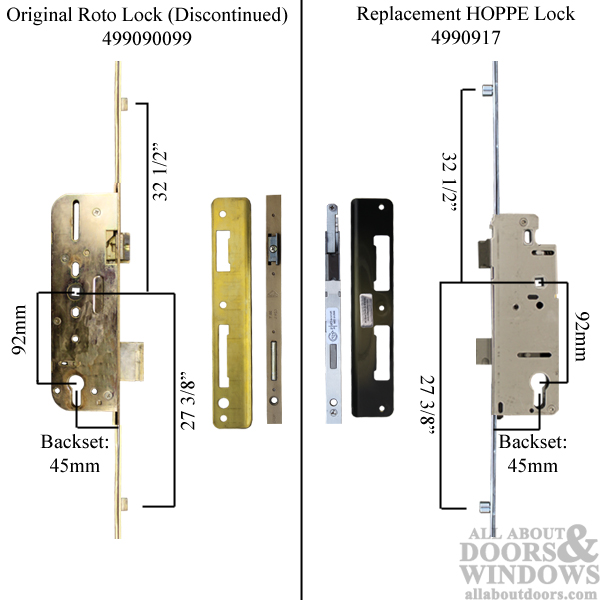 Replacement Kit For Roto 3 Point Roller Multipoint Lock In