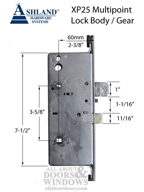 Ashland Xp25 3 Point Shootbolt Multipoint Lock 60mm Backset 20mm Faceplate Square Ends