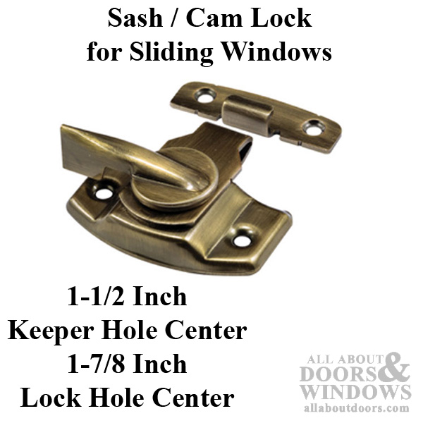 Sash Cam Lock Wood Sash Hardware Stamped Steel Antique Brass