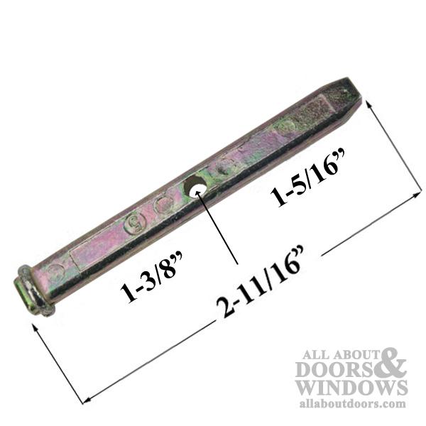Pivot bar, 2-11/16 alside tilt window 1 hole zinc die cast.