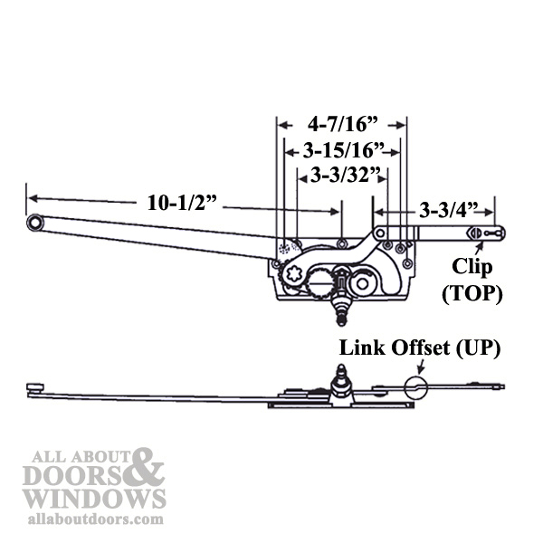 diagram showing that operator has a link offset up, a clip on top, and measurements showing a 10-1/2 inch long arm and 3-3/4 inch short arm