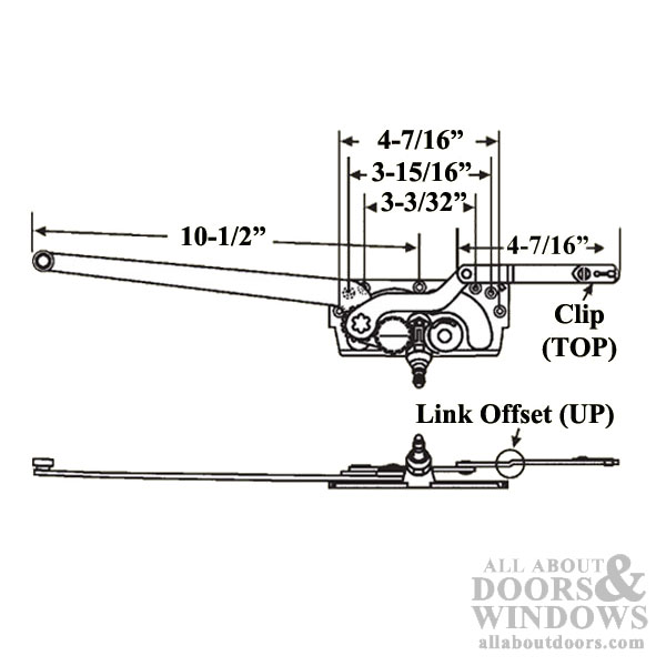 diagram showing that operator has a link offset up, a clip on top, and measurements showing a 10-1/2 inch long arm and 4 7/16 inch short arm