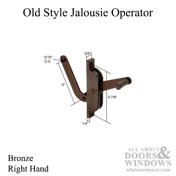 Old Style Jalousie Louver Window Operator Lever Right
