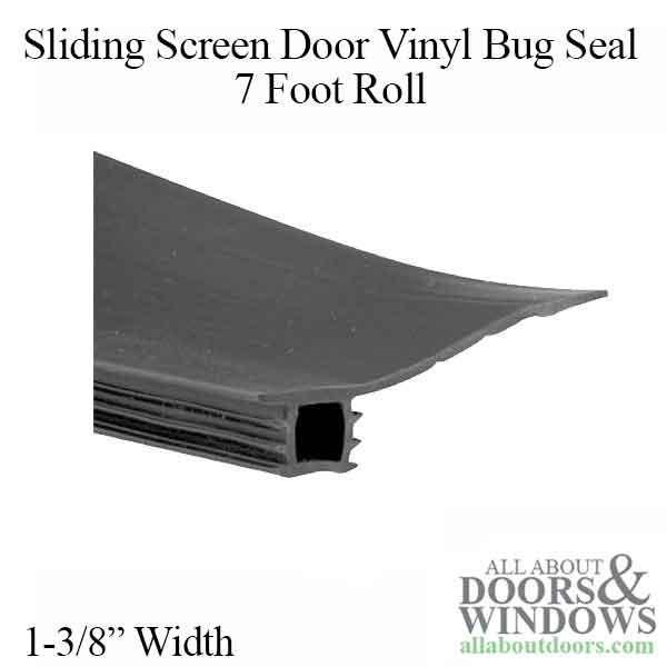 Vinyl Bug Seal for Sliding Screen Door - 7 Foot Roll, Black