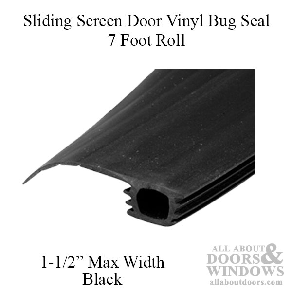 7 Foot Roll Of Vinyl Bug Seal For Sliding Screen Door Black