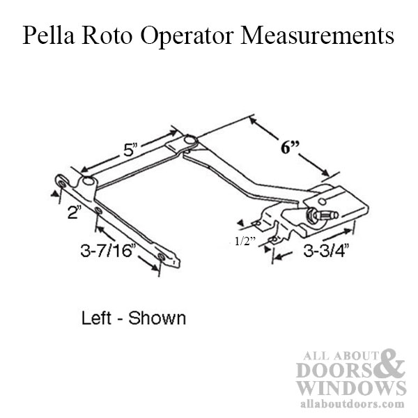Pella Roto Operator 1967 To 1993 Cc Wc Left Hand