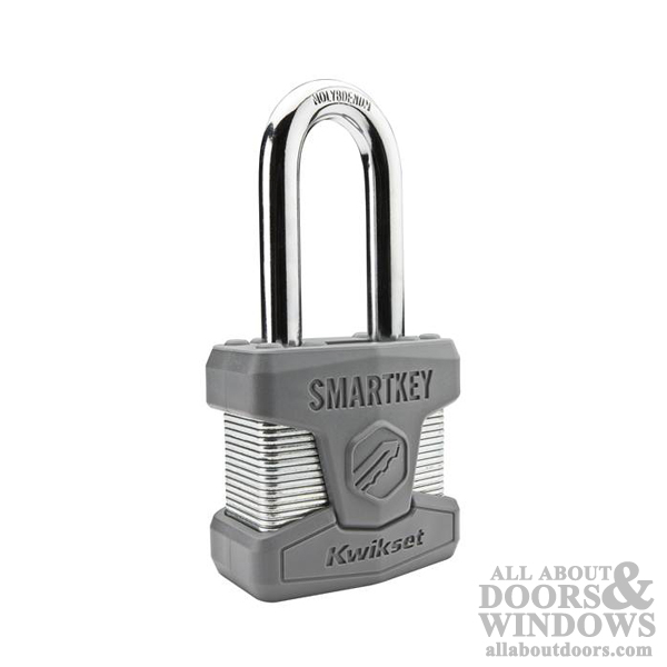 Laminated Steel Kwikset CP026SMTLNG SmartKey Padlock with Long Shackle